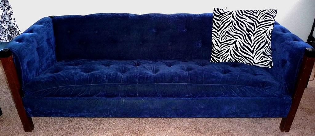 Classic Mid Century Hollywood Regency Blue Velvet Sofa Cou