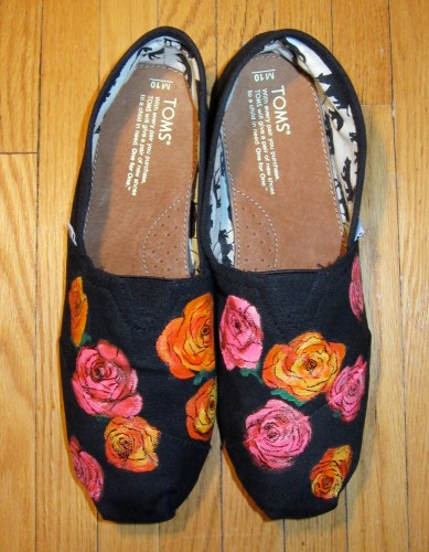 Custom painted TOMS with vibrant roses design