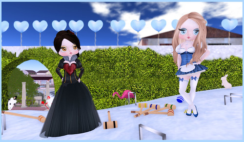 Queen of Hearts and Alice Playing Croquet...