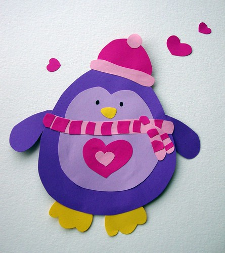 Valentines purple penguin