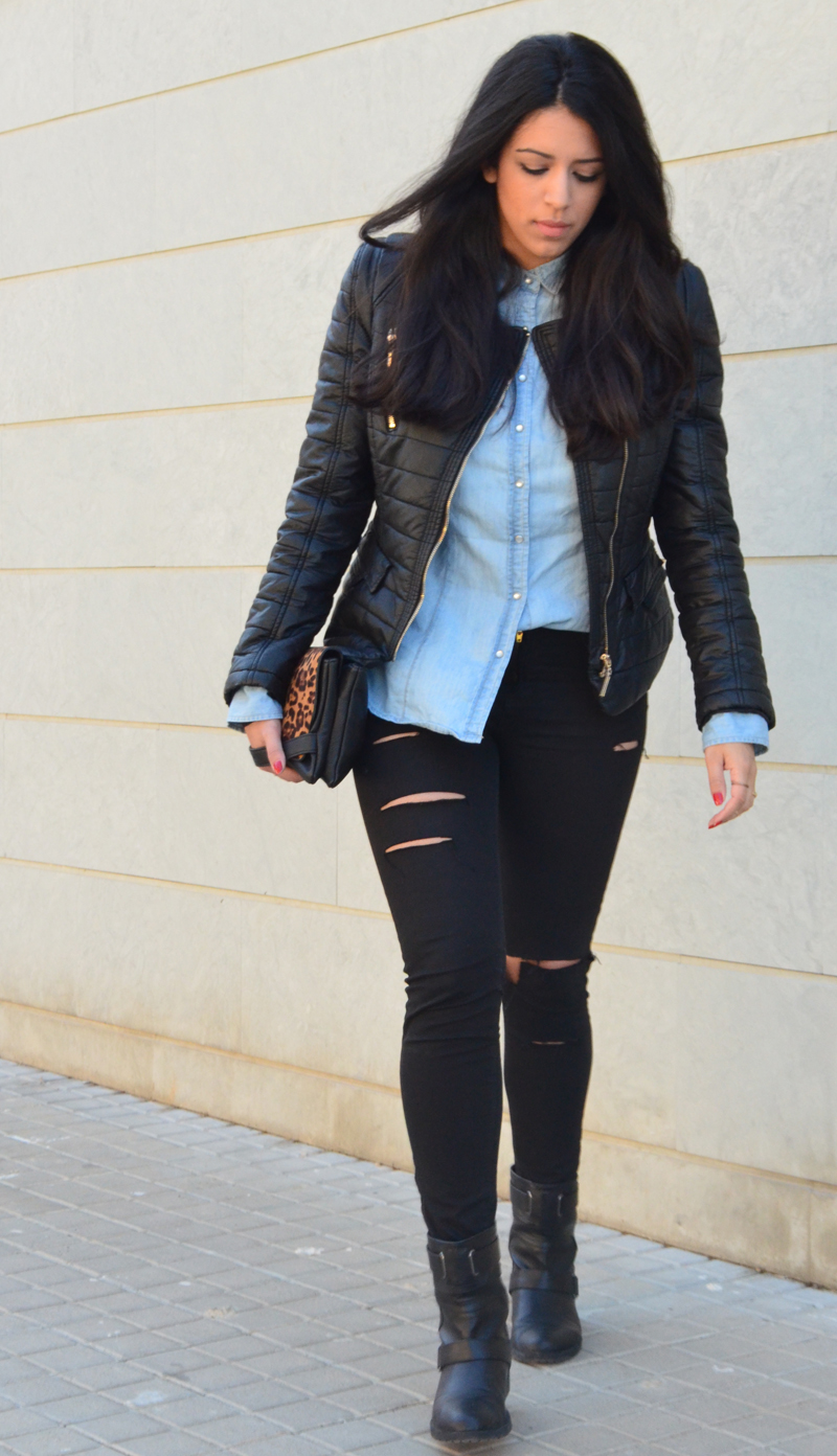 florenciablog look rocker broken jeans inspiration leopard clutch stradivarius how to wear broken jeans (4)