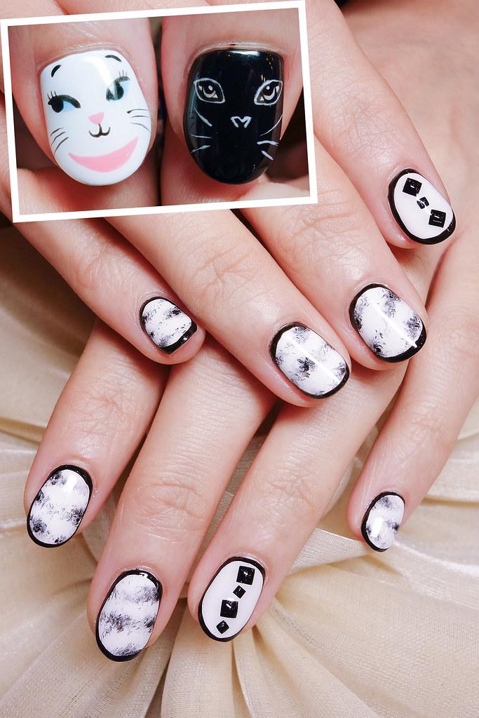 黑白經典凝膠指甲