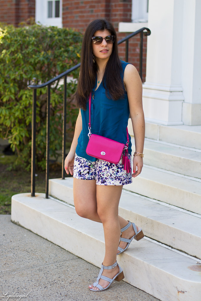 floral print shorts, blue top, pink coach bag-1.jpg