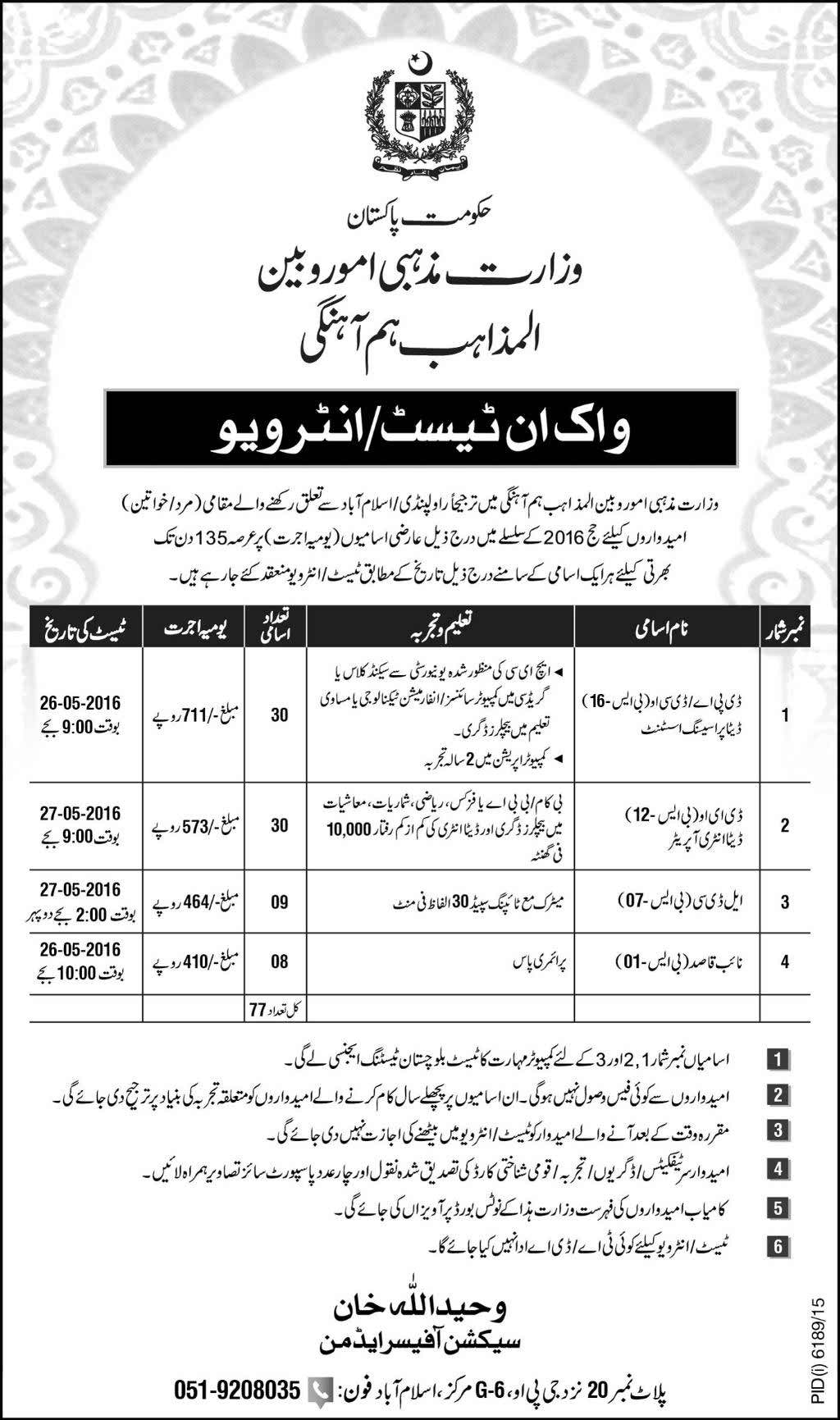 Ministry of Religious Affairs Jobs 2016