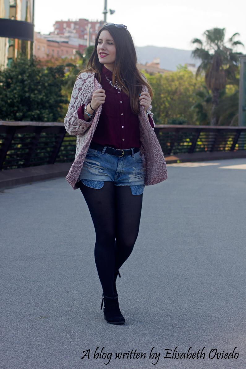 shorts denim camisa burgundy look HEELSANDROSES (12)