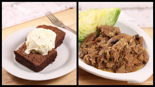 Day 328 - Beef Rendang and Dates Cake topped with ice cream
