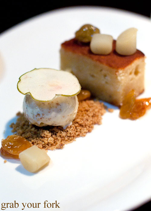 apple pound cake dessert at black by teage ezard