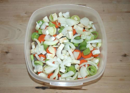 19 - Hähnchenbrust und Gemüse in Schüssel geben