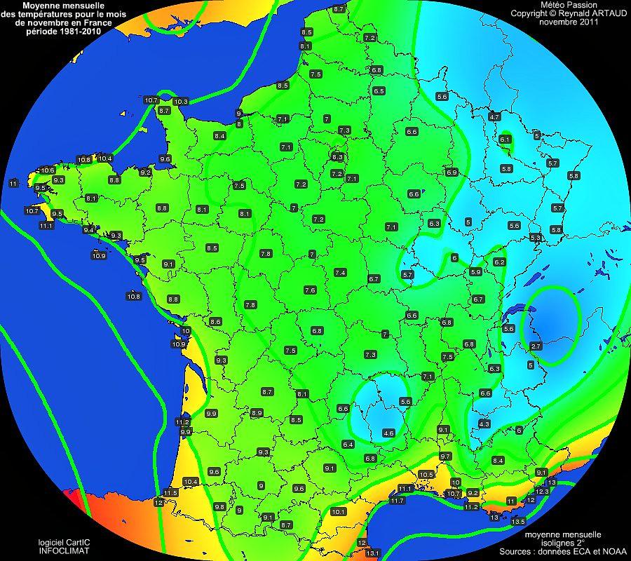 Moyennes mensuelles des températures pour le mois de novembre en France sur la période 1981-2010
