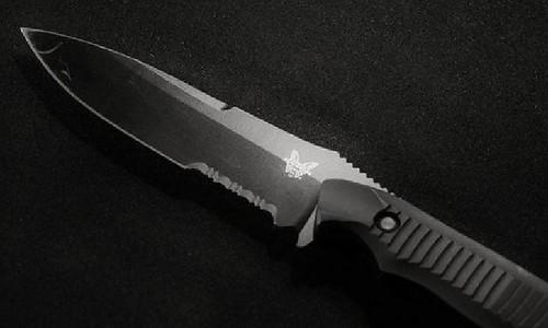 """Benchmade Nimravus 4.5"""" 154CM Steel Combo Blade, Black Aluminum Handles"""