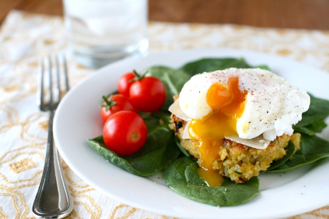 Quinoa Cakes with Poached Eggs