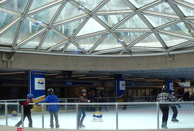 Family fun at the outdoor rink at Robson Square
