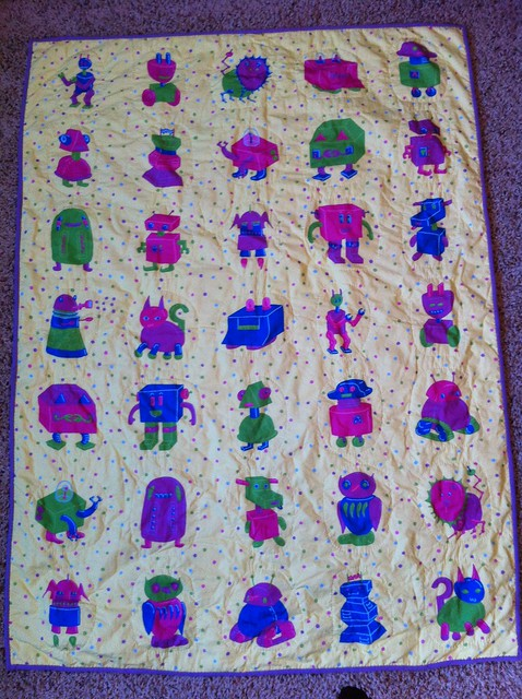 Robot baby quilt flickr photo sharing for Robot quilt fabric