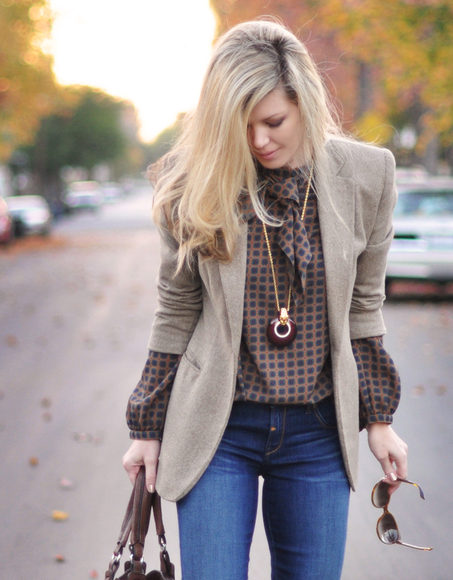 kenneth jay lane necklace-vintage blouse-ralph lauren blazer-blonde hair