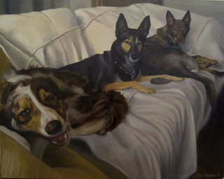 Three Dogs, Oil, 16x20