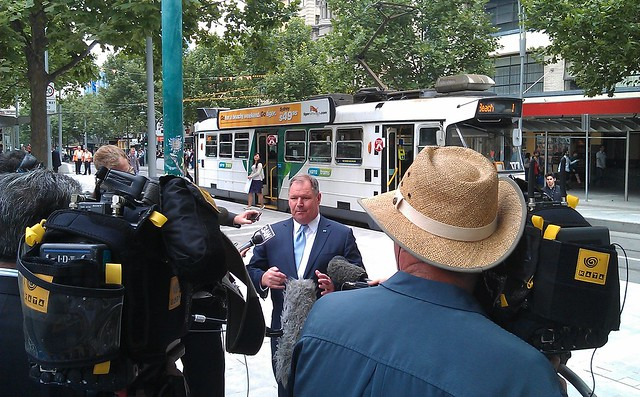 Robert Doyle at the Swanston Street - tram stop/bike lane