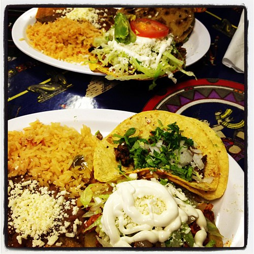 Sope and taco for me, gordita and tostada for him.
