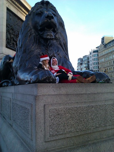 Santas near the Nelson's lion