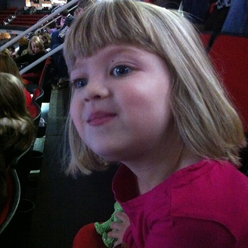 Somebody is excited about Disney Princesses on Ice.