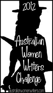 Logo of a silhouette of a steampunkily-dressed woman in a hat carrying an umbrella. In white text on the silhouette is '2012 Australian Women Writers Challenge'.