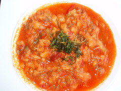 vegetable(0.0), tomato(0.0), produce(0.0), tomato sauce(1.0), food(1.0), dish(1.0), soup(1.0), cuisine(1.0),