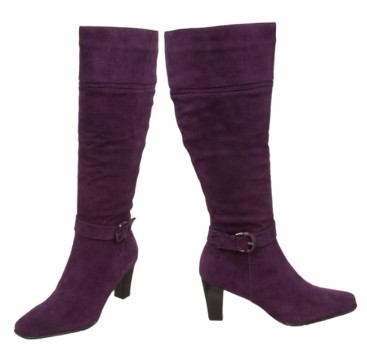 Purple Tall Suede Boots for Winter