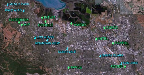 California's Silicon Valley (via Google Earth)