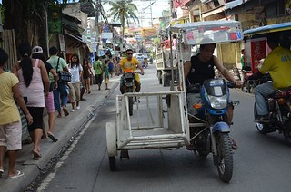 tricycles on the main road of Boracay in Philippines