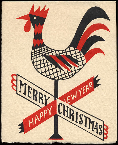Rooster Weathervane Christmas Card, 1950's