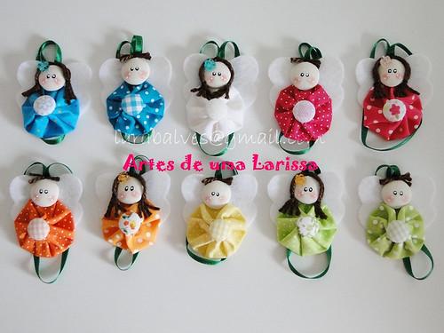Anjinhos de Fuxicos Coloridos by Artes de uma Larissa