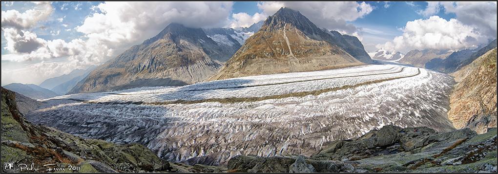 Suiza - Las Montañas - panorama gran glaciar Aletsch