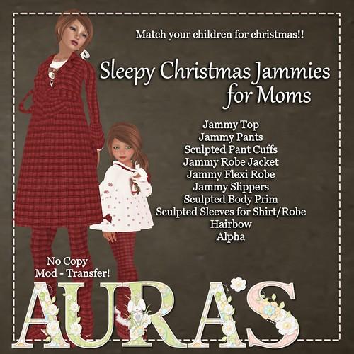 Sleepy Christmas Jammies in Red for MOMS by Aura Milev