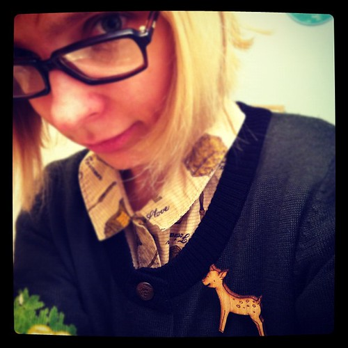 My Fawn Baby Wood Pin on my owly sweater! Ready for rainy weather.