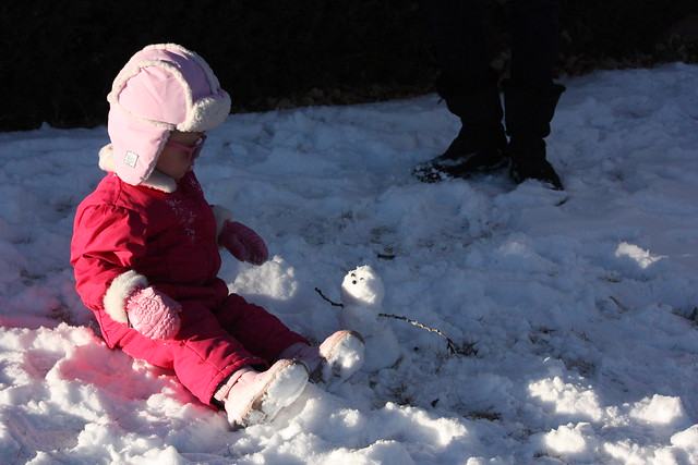 Cordelia with tiny snowman