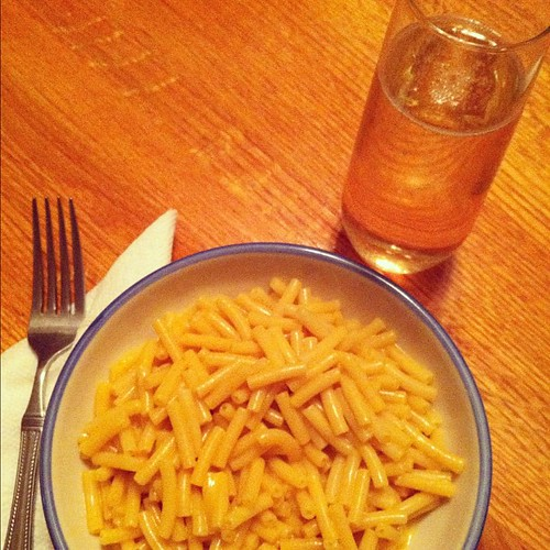 Christmas Eve dinner: Kraft mac n cheese and champagne.