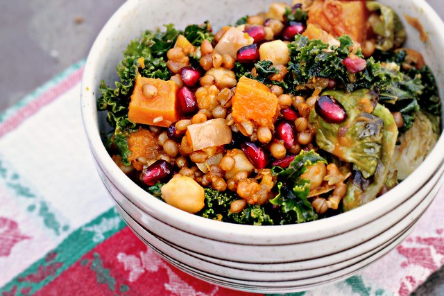 Garlic-Roasted Butternut Squash and Kale Wheatberry Salad with ...