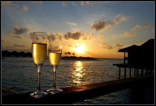 atardecer en Maldivas