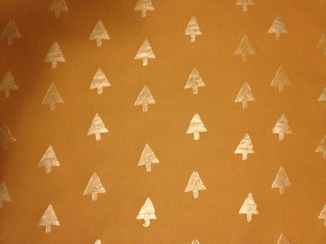 Homemade potato print wrapping paper