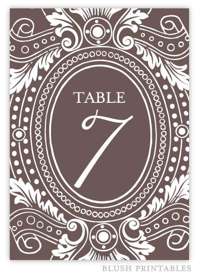 Vintage Garden - Printable 5x7 Table Number