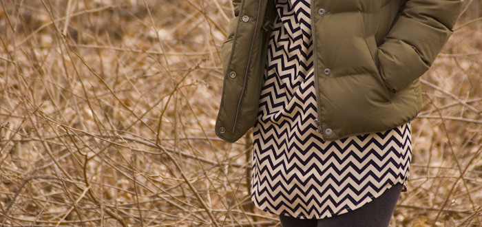 dashdotdotty, everly zigzag, chevrons, ootd, outfit blog, boots with socks, puffer, army green