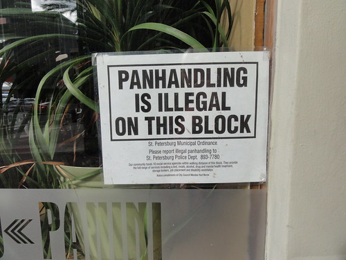 Panhandling is illegal on this block