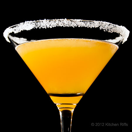 Sidecar Cocktail in Cocktail Glass with Sugared Rim, Black background