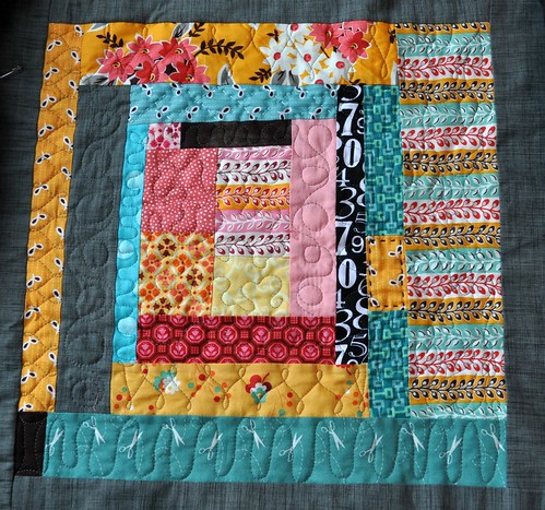 king size quilt, block 2 quilted