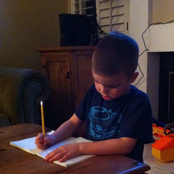 Journal writing time for the kid. The absolute worst part of weekly homework. 9 of 10. #10on10