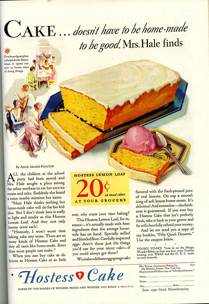 Hostess cake ad 1930