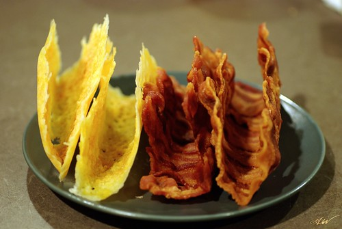 melted cheese and bacon taco shells