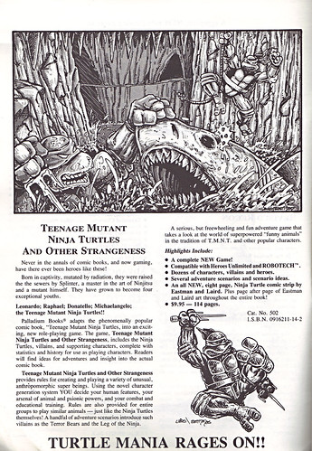 'THE CATALOG OF PALLADIUM BOOKS 1988-89 Catalog' vi (( 1988 ))