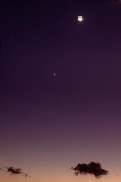 Moon, Venus and Clouds