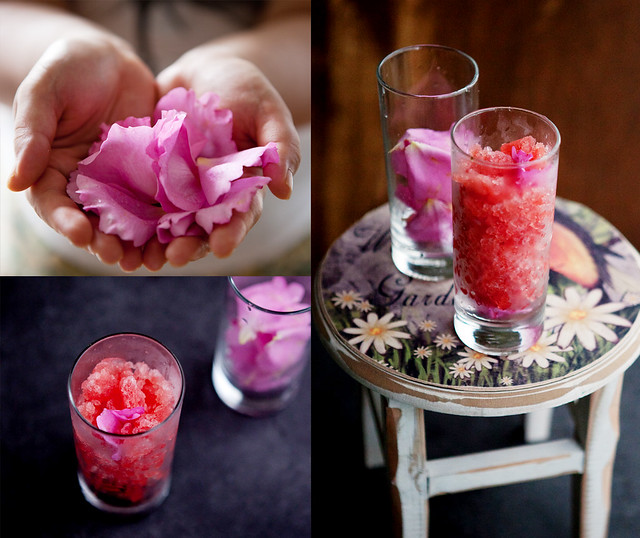 Watermelon & rose granita