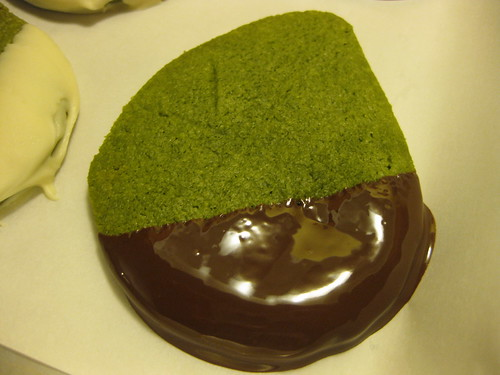 Freshly dipped green tea shortbread